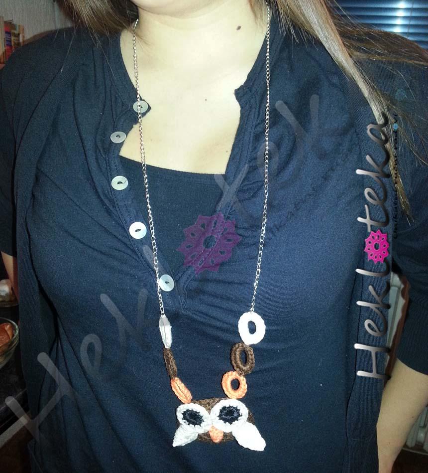 Ogrlice : Heklana ogrlica SOVA