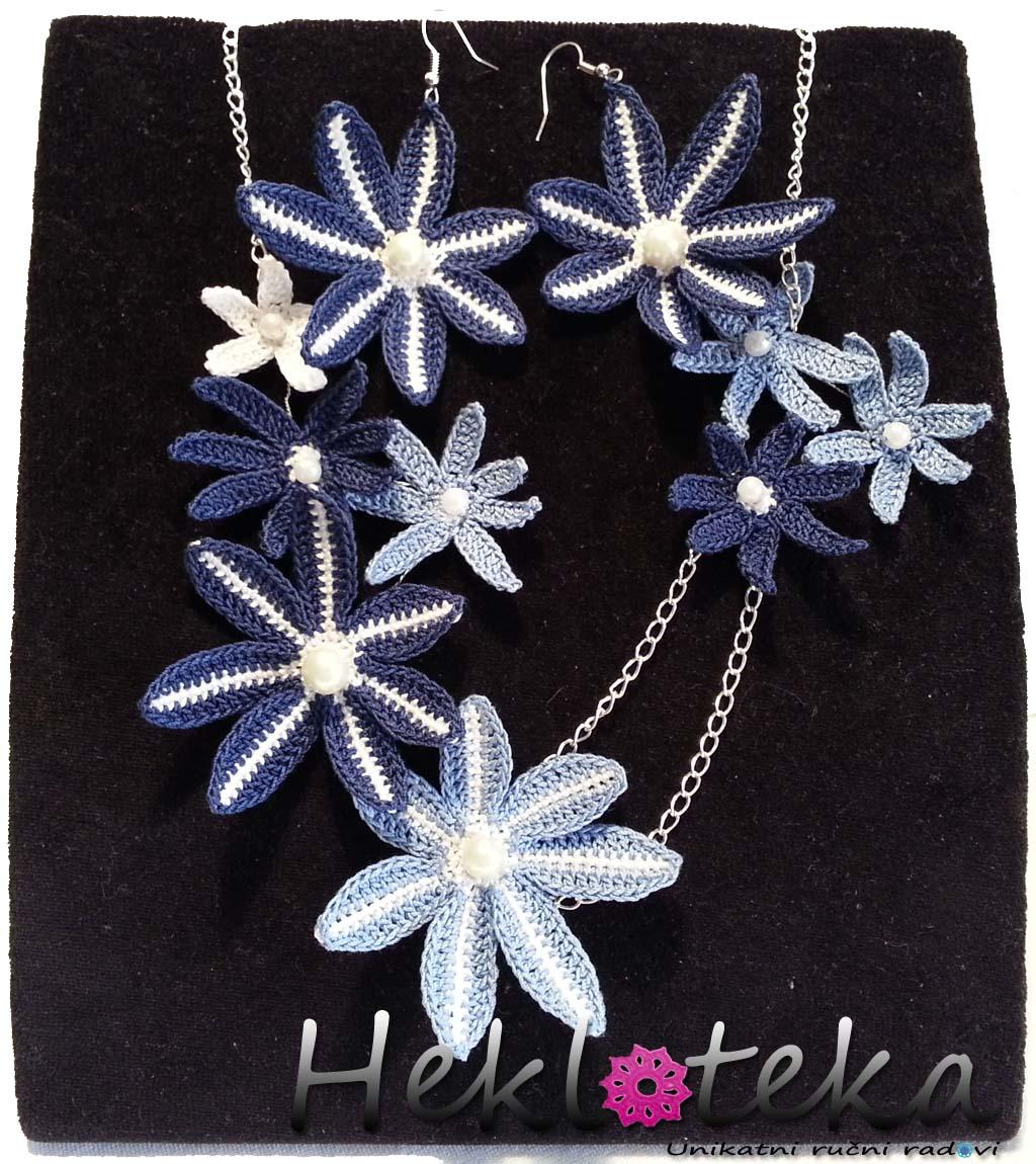 Heklana ogrlica u kompletu sa mindjusama. Izradjeno od pamucnog konca