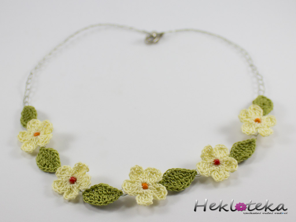 Crocheted little spring flowers necklace